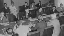 Una visión general de la reunión del Comité Organizador Olímpico en Tokio en 1940, cuando se encontraba en Mantetsu Kaikan el 16 de julio de 1938. En Tokio, Japón, se tomó la decisión de perder los Juegos Olímpicos en Tokio en 1940 (Foto: Asahi Shimbun por Getty Images)