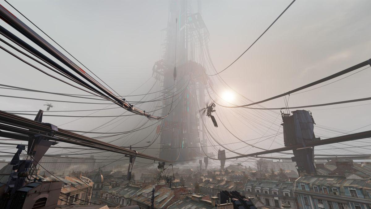 El jugador sube a la cima de la ciudadela en Half-Life: Alyx Promo Area