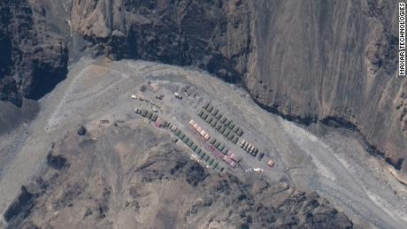 Campamento chino en el valle de Galwan en Aksai de China.