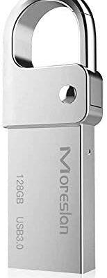 Memoria USB 128GB Pendrive 3.0 con Llavero Portátil para Llevar Unidad Flash USB de Aluminio Impermeable IPX45 paraTabletas/Computadoras y Otros Dispositivos(Plata)