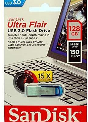 SanDisk Ultra Flair Memoria Flash USB 3.0 de 128GB con hasta 150 MB/s de Velocidad de Lectura, Color Azul